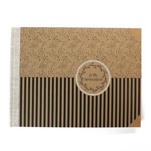 L-es, natúr-fekete csíkos és virágmintás környezetbarát, egyedi fotóalbum, Otthon & Lakás, Papír írószer, Album & Fotóalbum, Könyvkötés, Kézzel fűzött hagyományos fotóalbum\n\n- méret: 33,5 cm x 25 cm, lapméret: 32,5 cm x 24 cm (L/large)\n-..., Meska