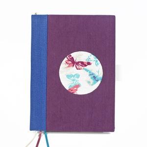 A/5  kék - lila -pillangós dátum nélküli heti tervezőnaptár, Otthon & Lakás, Papír írószer, Jegyzetfüzet & Napló, Könyvkötés, Újrahasznosított alapanyagból készült termékek, Meska