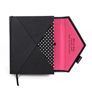 A/6 (régi M) 200, BORÍTÉK határidőnapló/notesz cserélhető belívvel - pink - fekete - fehér pöttyös, Otthon & Lakás, Papír írószer, Naptár & Tervező, Könyvkötés, Meska