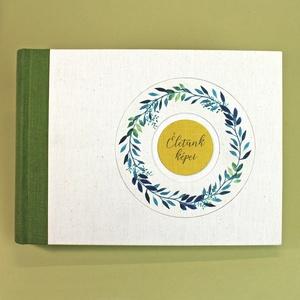 L zöld akvarell mintás fotóalbum, Otthon & Lakás, Papír írószer, Album & Fotóalbum, Könyvkötés, Meska