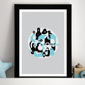 Fázós pingvinek - Gyerekszoba dekoráció, gyerekszoba falikép, babaszoba dekoráció, Művészet, Grafika & Illusztráció, Fotó, grafika, rajz, illusztráció, Köszöntelek a Noteszboltban!\n\nEz a pingvineket ábrázoló grafika használható fali dekorációként, kere..., Meska