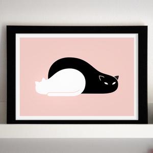 Black Cat, White Cat - Gyerekszoba dekoráció, gyerekszoba falikép, babaszoba dekoráció, Művészet, Grafika & Illusztráció, Fotó, grafika, rajz, illusztráció, Köszöntelek a Noteszboltban!\n\nEz a cicákat ábrázoló grafika használható fali dekorációként, keretezv..., Meska