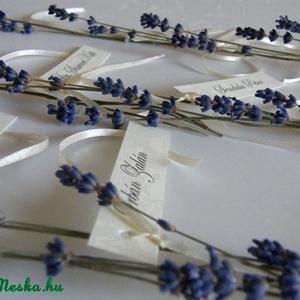 Levendulás mennyegző-esküvői ültetőkártyák, Esküvő, Esküvői dekoráció, Meghívó, ültetőkártya, köszönőajándék, Mindenmás, ..amikor egy esküvőnek stílusa van..\n\nLevendula illatú esküvő a legapróbb részletekből. \nAz ünnepi f..., Meska