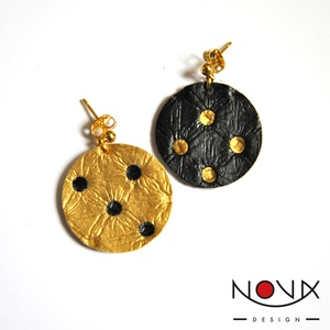 Yin és Yang fülbevaló #5 Arany-fekete komplementer (novadesignshop) - Meska.hu