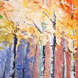Erdei séta - struktúrpasztás akril festmény (eredeti) (novannart) - Meska.hu