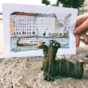 Duna-part - akvarell festmény (eredeti) (novannart) - Meska.hu