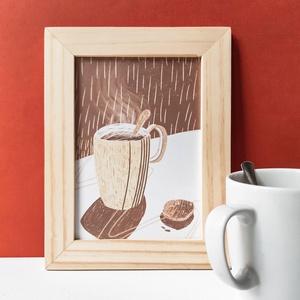 Kávészünet - falikép, Otthon & lakás, Dekoráció, Kép, Lakberendezés, Falikép, Képzőművészet, Illusztráció, Fotó, grafika, rajz, illusztráció, Kép mérete: 13 x 18 / 18 x 24 cm\n300 g-os matt fehér papírra nyomtatva.\n\nDigitálisan rajzolt grafiká..., Meska