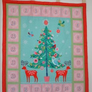 Rénszarvas adventi naptár zsebbekkel, Adventi naptár, Karácsony & Mikulás, Otthon & Lakás, Varrás, Adventi kalendár 59x52cm (az akasztók plusz 4cm hosszúak) 24 kis zsebbel.  Egy zseb mérete: 7x6cm\nA ..., Meska