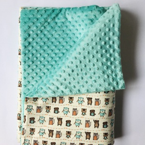 """""""Maci cica"""" vastag babatakaró 70cm x 100cm, Játék & Gyerek, 3 éves kor alattiaknak, Varrás,  Vastag babatakaró, egyik oldala színes és vidám maci és cica mintás  BIO textil.  A másik oldala eg..., Meska"""