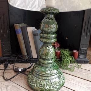 Zöld népiesen romantikus-egyedi kerámia lámpaváza (ntakeramia) - Meska.hu