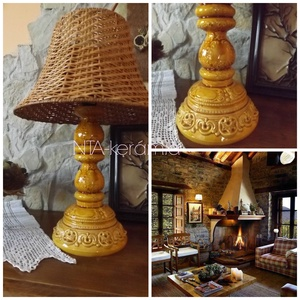 Méz-Napfény-csipkés- romantikus-egyedi kerámia lámpaváza, Otthon & lakás, Esküvő, Lakberendezés, Lámpa, Dekoráció, Fehér agyagból készítettem ezt a lámpavázát.A testen körbefutnak domborodott indák,virágok. Gyönyörű..., Meska
