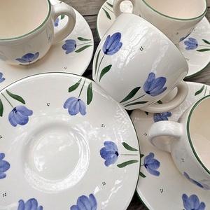 Kék tulipános kávés készlet (ntakeramia) - Meska.hu