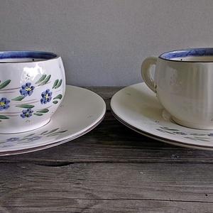 Kék nefelejcs pocakos kávés csésze  (ntakeramia) - Meska.hu