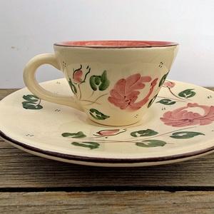 Rózsás romantikus kávés szett (ntakeramia) - Meska.hu