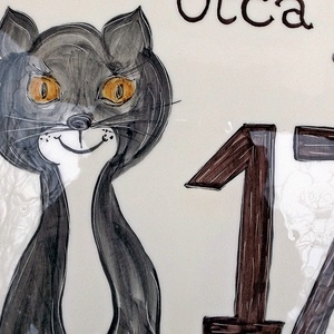 Cica-macska-miau kerámia  utca - házszám tábla (ntakeramia) - Meska.hu