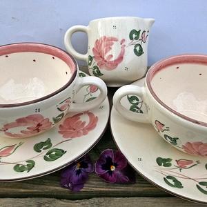 Egy tea veled romantikus rózsásan, Bögre & Csésze, Konyhafelszerelés, Otthon & Lakás, Kerámia, Festett tárgyak, Romantikus rózsát szeretőknek. Kiknek a lelkük mindig vidám. Akik az egyszerű harmonikus dolgokat sz..., Meska