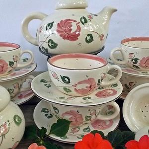 Rózsás-romantikus teás 6 személyes készlet  (ntakeramia) - Meska.hu