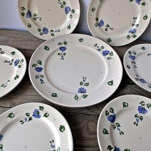 Romantikus kékfestő  sütis-reggeliző készlet, Lakberendezés, Otthon & lakás, Konyhafelszerelés, Tálca, Kerámia, Festett tárgyak, A  kék elegáns...a kékfestő apró kis virágai szolid bájt kölcsönöznek az ünnep vagy a hétköznapokra...., Meska