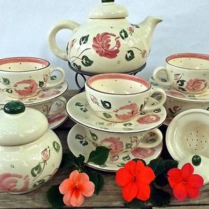 Rózsás-romantikus teás 6 személyes készlet , Otthon & lakás, Esküvő, Konyhafelszerelés, Nászajándék, Bögre, csésze, Rózsás ...romantikus..eperhabos..álom. A szeretet és a szerelem virágának a rózsát tartják. Ez a leg..., Meska