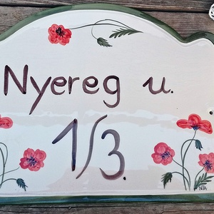 Egyedi  pipacsos kerámia utcanév tábla (ntakeramia) - Meska.hu