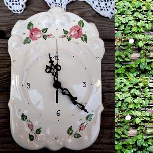 Rózsás  romantikus kerámia időmutató, Otthon & lakás, Dekoráció, Lakberendezés, Falióra, óra, Konyhafelszerelés, Kerámia, Az idő értékes dolog -\nNézd, hogy repül, ahogy az inga száll,\nnézd, ahogy a nap végéig visszaszámlál..., Meska