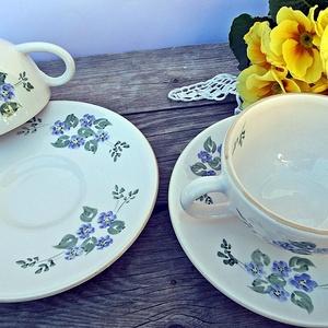 Kék nefelejcs-2 személyes teás, Otthon & lakás, Lakberendezés, Dekoráció, Konyhafelszerelés, Bögre, csésze, A tavasz a megújulás, a természet újjászületésének ideje. Apró kék nefelejcseket , csipkével,pöttyök..., Meska
