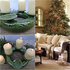 A  hagyomány és a zöld tisztelőinek- kerámia adventi koszorú, Otthon & Lakás, Karácsony & Mikulás, Adventi koszorú, Kerámia,  \nA NÉGY GYERTYA\n\nEgyszer volt, hol nem volt, volt egyszer négy gyertya.\nAnnyira nagy volt körülöttü..., Meska