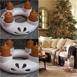 Karácsony... kerámia fehér ekrü áttört- adventi  koszorú, Otthon & Lakás, Karácsony & Mikulás, Adventi koszorú, Kerámia, Évek óta készítem ezeket a kerámia koszorúkat,azok a kedves vásárlóim kedvéért akik szeretik az egye..., Meska