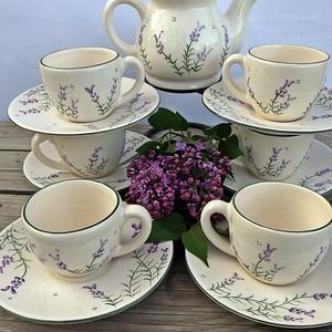 Romantikus levendulás kávés készlet, Konyhafelszerelés, Otthon & lakás, Kancsó , Bögre, csésze, Dekoráció, Kerámia, Festett tárgyak, A levendula szerelmeseinek készítettem ezt a 6 személyes kávés készletet. \nFehér agyagból,mázalatti ..., Meska