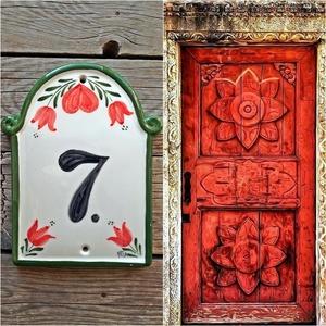 Piros tulipán szívvel kerámia  házszám tábla, Otthon & lakás, Dekoráció, Lakberendezés, Utcatábla, névtábla, Kerti dísz, Kerámia, Mindenhol jó de legjobb OTTHON!\nEgy hosszú fárasztó nap után mindenki örül ha végre beléphet otthoná..., Meska