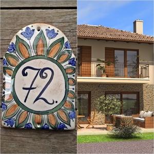 Kerámia egyedi házszám tábla-mediterrán-tulipán , Dekoráció, Otthon & lakás, Lakberendezés, Utcatábla, névtábla, Kerti dísz, Kerámia, Festett tárgyak, \nMindenhol jó de legjobb OTTHON!\nEgy hosszú fárasztó nap után mindenki örül ha végre beléphet otthon..., Meska
