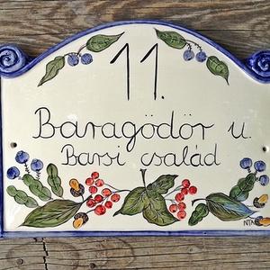 Kék a kökény kerámia utcanévtábla  (ntakeramia) - Meska.hu