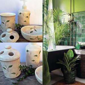 Zöld természet kerámia fürdőszoba szett, Fürdőszobai tároló, Fürdőszoba, Otthon & Lakás, Kerámia, \nNatúr,skandináv hangulatban  öltöztetheted fürdőszobád is.\nFehér agyagból,egészségre káros anyagot ..., Meska