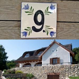 Kék tulipán Egyedi kerámia utca név-házszámtábla , Otthon & Lakás, Ház & Kert, Házszám, Kerámia, Festett tárgyak, Fehér, agyagból készült, mázalatti festékkel, színtelen, vagy színes mázzal, magas tűzőn, kétszer ég..., Meska