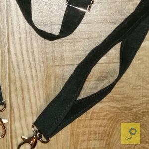 Állítható hosszúságú textil pánt, heveder \'cross body\' táskához - fekete pamutvászonból, Táska & Tok, Táskapánt & Alkatrész, Varrás, Anyaga 100% pamutvászon, fém nikkel állítóval és két rögzítő nikkel karabiner delfinkapoccsal. Nem v..., Meska