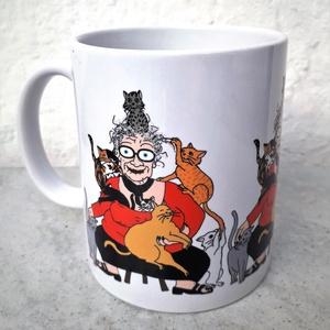 Crazy Cat Lady, Konyhafelszerelés, Otthon & lakás, Bögre, csésze, Képzőművészet, Grafika, Fotó, grafika, rajz, illusztráció, Saját tervezésű grafikámmal ellátott, klasszikus fehér színű, 3 dl-es mókás macskás bögre. A nyomat ..., Meska