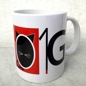 O1G - Only 1 God, Grafika, Képzőművészet, Otthon & lakás, Konyhafelszerelés, Bögre, csésze, Fotó, grafika, rajz, illusztráció, Saját tervezésű grafikámmal ellátott, klasszikus fehér színű, 3 dl-es mókás macskás bögre a közismer..., Meska