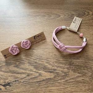 Púder színű ékszer szett, Ékszer, Ékszerszett, Ékszerkészítés, Gyönyörű púder rózsaszín pamutzsinórból készült a bedugós fülbevaló a hozzá illő karkötővel. A képen..., Meska