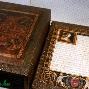 Kódex... Mathias Rex..., Művészet, Művészi nyomat, Decoupage, transzfer és szalvétatechnika, Mátyás corvinái ihlették ezt a könyvdobozt... mely barnára pácolt, gazdagon díszített, aranyozott és..., Meska