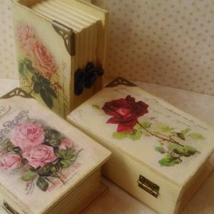 Rózsa kiadványok... Hárman párban..., Dekoráció, Otthon & lakás, Lakberendezés, Tárolóeszköz, Decoupage, transzfer és szalvétatechnika, Festett tárgyak, Három aprócska könyvdoboz különböző rózsás mintával...\nTermészetesen a dobozkákat külön-külön is meg..., Meska