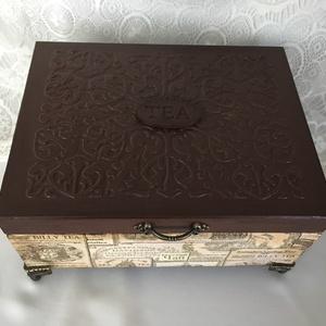 Teás teás-doboz..., Lakberendezés, Otthon & lakás, Tárolóeszköz, Konyhafelszerelés, Dekoráció, Decoupage, transzfer és szalvétatechnika, Festett tárgyak, Ez egy 20X15X8 cm-es antikolt vintage dobozka (6 rekeszes teafilter tartó)... ami sok apró csokit, b..., Meska