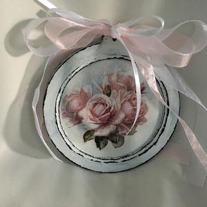 Rusztikus-rózsa... , Kép & Falikép, Dekoráció, Otthon & Lakás, Decoupage, transzfer és szalvétatechnika, Festett tárgyak, Antikolt képkeret, vintage stílusban... rózsával, szallagokkal díszítve... elegáns és hangulatos kie..., Meska