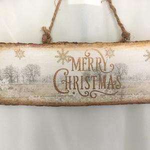 Merry Christmas!, Otthon & Lakás, Karácsony & Mikulás, Karácsonyi kopogtató, Decoupage, transzfer és szalvétatechnika, Karácsonyi ajtótáblácska... havas és elegáns vendégváró az ajtóra, ajtóba... fehér-arany csillogásba..., Meska
