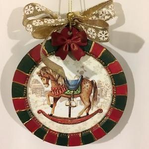 """Karácsonyi üdvözlet..., Otthon & Lakás, Karácsony & Mikulás, Karácsonyi dekoráció, Decoupage, transzfer és szalvétatechnika, Festett tárgyak, Karácsonyi színek, szallagok... és hangulat... (5 db)\nMérete: Fa MDF \""""buborék\"""" 12 cm\n, Meska"""
