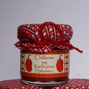 Karibi piros habanero chilikrém 40g, Kulinária (Ízporta), Fűszer, Élelmiszer előállítás, Extra erős chilikrém díszes üvegben. Érett, piros színű habanero paprikából készített, darált, enyhé..., Meska