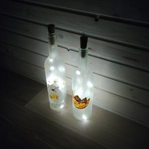 Boros üveg dekor lámpa, hangulatfény, Hangulatlámpa, Lámpa, Otthon & Lakás, Festett tárgyak, Kézzel festett, egyedi hangulatfény. Kérésre egyedi mintával, szöveggel. Egy darab AAA S elemmel műk..., Meska