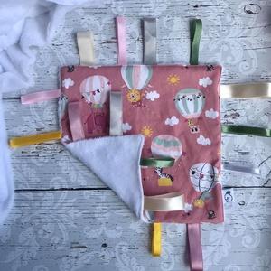 Rózsaszín hőlégballonos címke rongyi - játék & gyerek - 3 éves kor alattiaknak - alvóka & rongyi - Meska.hu