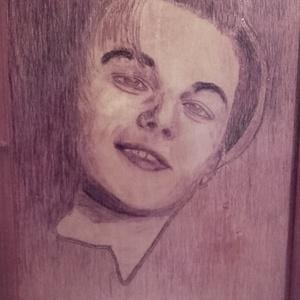 Di Caprio, Művészet, Portré & Karikatúra, Portré, Festett tárgyak, Fotó, grafika, rajz, illusztráció, Rétegelt lemezre akvarell technikával készítettem a színész portréját.Felülete lakkal kezelve.A képe..., Meska