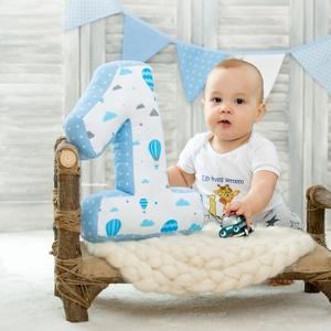 1-es számpárna fotózáshoz, 30 cm magas, babafotó, fotózási kellék, hőlégballonos (OdorsHome) - Meska.hu