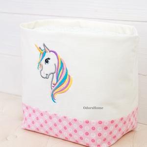 Unikornis textil tároló, rózsaszínben, pelenka tartó (OdorsHome) - Meska.hu